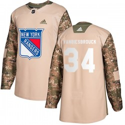 John Vanbiesbrouck New York Rangers Youth Adidas Authentic Camo Veterans Day Practice Jersey