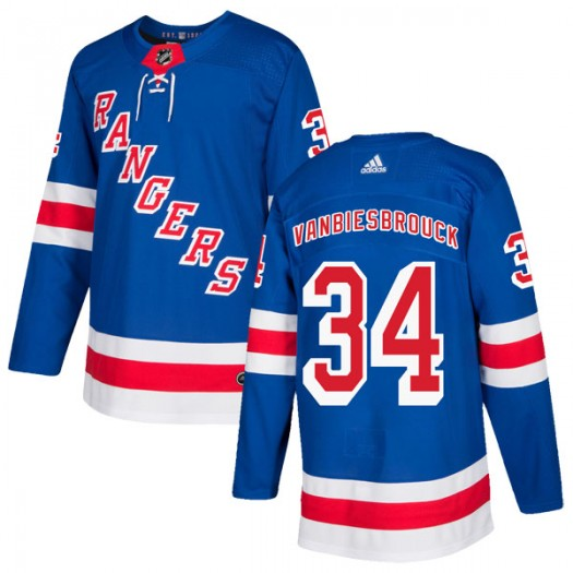 John Vanbiesbrouck New York Rangers Youth Adidas Authentic Royal Blue Home Jersey