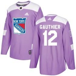 Julien Gauthier New York Rangers Men's Adidas Authentic Purple ized Fights Cancer Practice Jersey