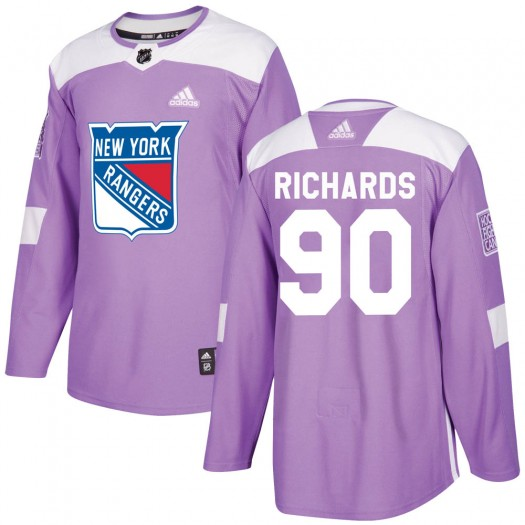 Justin Richards New York Rangers Youth Adidas Authentic Purple Fights Cancer Practice Jersey