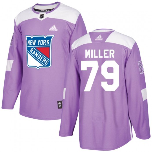 KAndre Miller New York Rangers Youth Adidas Authentic Purple Fights Cancer Practice Jersey