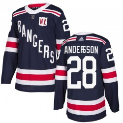 Lias Andersson New York Rangers Men's Adidas Authentic Navy Blue 2018 Winter Classic Home Jersey