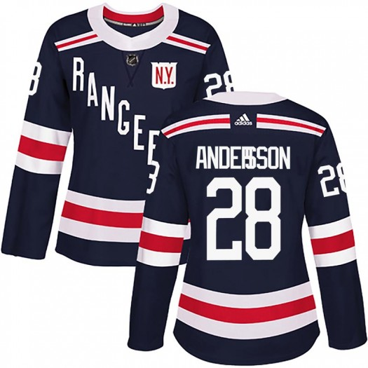 Lias Andersson New York Rangers Women's Adidas Authentic Navy Blue 2018 Winter Classic Home Jersey