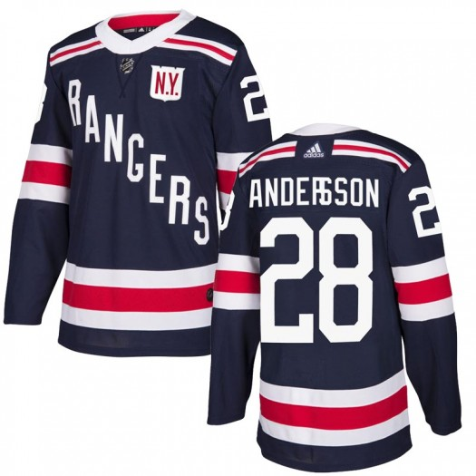 Lias Andersson New York Rangers Youth Adidas Authentic Navy Blue 2018 Winter Classic Home Jersey