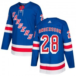 Lias Andersson New York Rangers Youth Adidas Authentic Royal Blue Home Jersey
