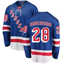 Lias Andersson New York Rangers Youth Fanatics Branded Blue Breakaway Home Jersey