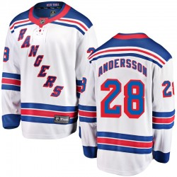 Lias Andersson New York Rangers Youth Fanatics Branded White Breakaway Away Jersey