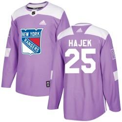 Libor Hajek New York Rangers Youth Adidas Authentic Purple ized Fights Cancer Practice Jersey
