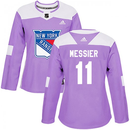 Mark Messier New York Rangers Women's Adidas Authentic Purple Fights Cancer Practice Jersey