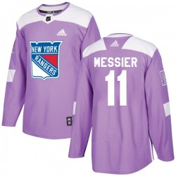 Mark Messier New York Rangers Youth Adidas Authentic Purple Fights Cancer Practice Jersey
