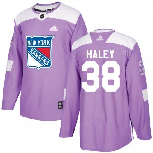 Micheal Haley New York Rangers Youth Adidas Authentic Purple Fights Cancer Practice Jersey
