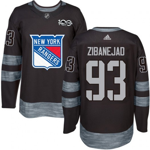 Mika Zibanejad New York Rangers Men's Adidas Authentic Black 1917-2017 100th Anniversary Jersey