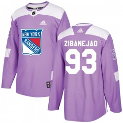 Mika Zibanejad New York Rangers Youth Adidas Authentic Purple Fights Cancer Practice Jersey