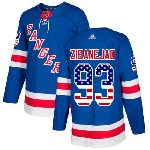 Mika Zibanejad New York Rangers Youth Adidas Authentic Royal Blue USA Flag Fashion Jersey