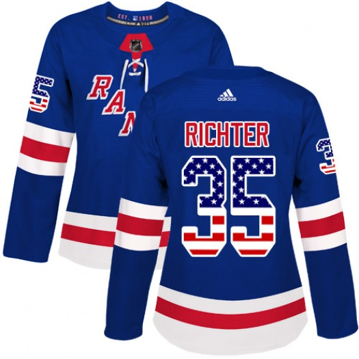 Mike Richter New York Rangers Women's Adidas Authentic Royal Blue USA Flag Fashion Jersey