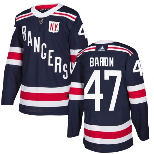 Morgan Barron New York Rangers Youth Adidas Authentic Navy Blue 2018 Winter Classic Home Jersey