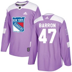 Morgan Barron New York Rangers Youth Adidas Authentic Purple Fights Cancer Practice Jersey