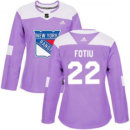 Nick Fotiu New York Rangers Women's Adidas Authentic Purple Fights Cancer Practice Jersey
