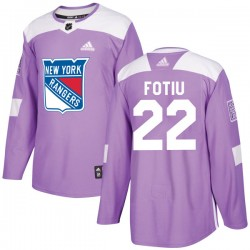 Nick Fotiu New York Rangers Youth Adidas Authentic Purple Fights Cancer Practice Jersey