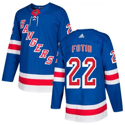 Nick Fotiu New York Rangers Youth Adidas Authentic Royal Blue Home Jersey