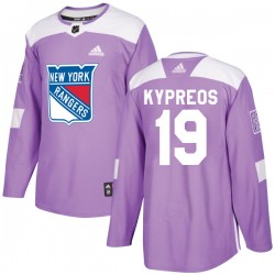 Nick Kypreos New York Rangers Youth Adidas Authentic Purple Fights Cancer Practice Jersey