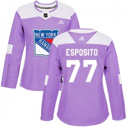 Phil Esposito New York Rangers Women's Adidas Authentic Purple Fights Cancer Practice Jersey