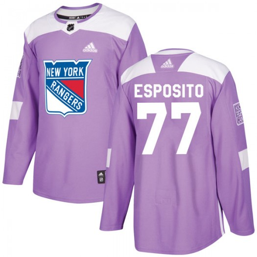 Phil Esposito New York Rangers Youth Adidas Authentic Purple Fights Cancer Practice Jersey