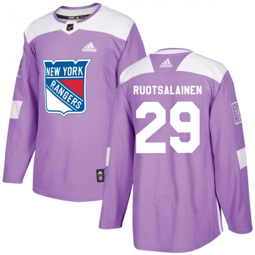 Reijo Ruotsalainen New York Rangers Youth Adidas Authentic Purple Fights Cancer Practice Jersey