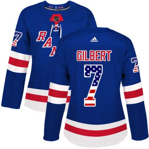 Rod Gilbert New York Rangers Women's Adidas Authentic Royal Blue USA Flag Fashion Jersey