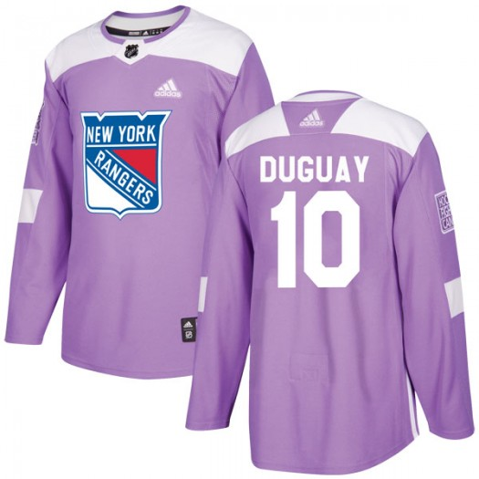 Ron Duguay New York Rangers Youth Adidas Authentic Purple Fights Cancer Practice Jersey