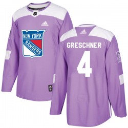 Ron Greschner New York Rangers Men's Adidas Authentic Purple Fights Cancer Practice Jersey