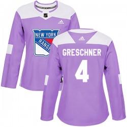 Ron Greschner New York Rangers Women's Adidas Authentic Purple Fights Cancer Practice Jersey