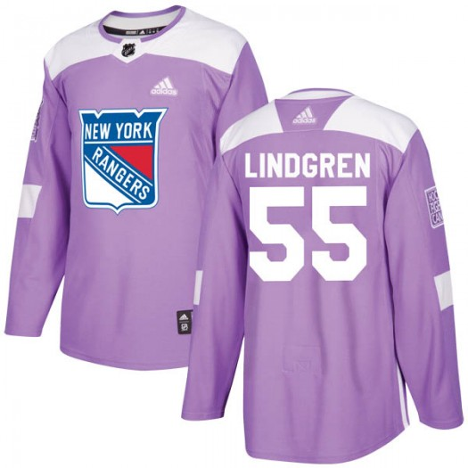Ryan Lindgren New York Rangers Youth Adidas Authentic Purple Fights Cancer Practice Jersey