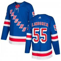Ryan Lindgren New York Rangers Youth Adidas Authentic Royal Blue Home Jersey