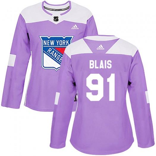 Sammy Blais New York Rangers Women's Adidas Authentic Purple Fights Cancer Practice Jersey