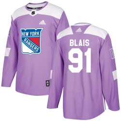 Sammy Blais New York Rangers Youth Adidas Authentic Purple Fights Cancer Practice Jersey