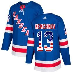Sergei Nemchinov New York Rangers Men's Adidas Authentic Royal Blue USA Flag Fashion Jersey