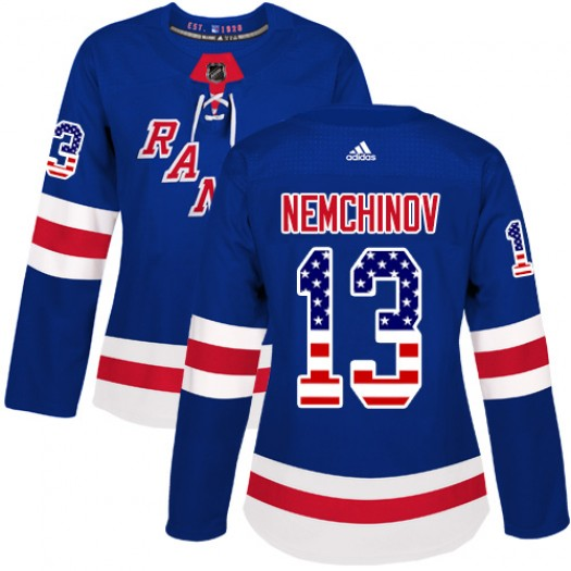 Sergei Nemchinov New York Rangers Women's Adidas Authentic Royal Blue USA Flag Fashion Jersey