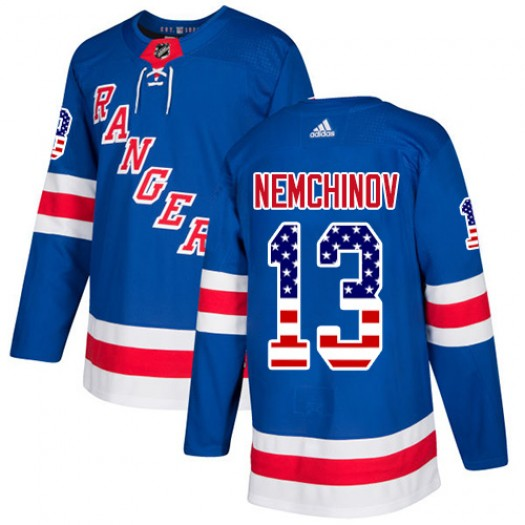 Sergei Nemchinov New York Rangers Youth Adidas Authentic Royal Blue USA Flag Fashion Jersey