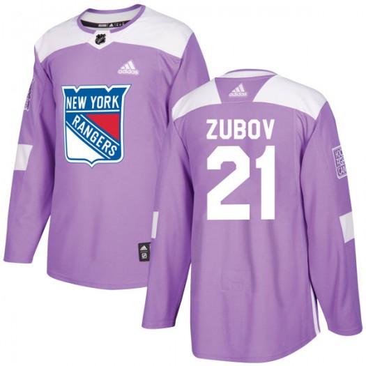Sergei Zubov New York Rangers Men's Adidas Authentic Purple Fights Cancer Practice Jersey