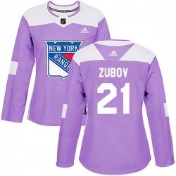 Sergei Zubov New York Rangers Women's Adidas Authentic Purple Fights Cancer Practice Jersey