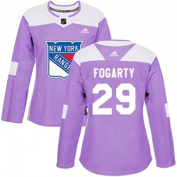 Steven Fogarty New York Rangers Women's Adidas Authentic Purple Fights Cancer Practice Jersey