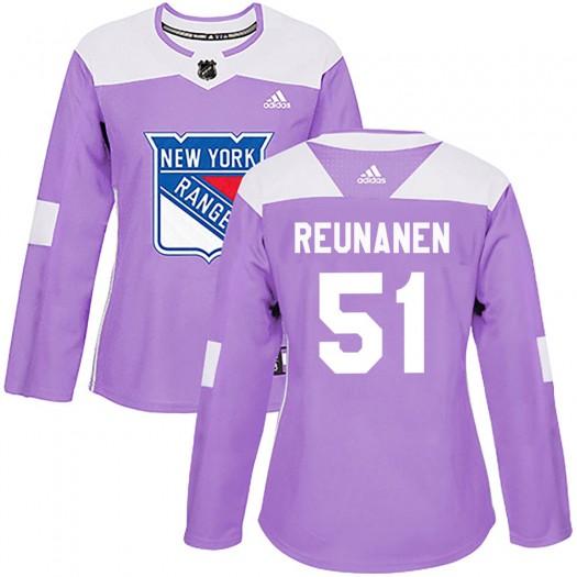 Tarmo Reunanen New York Rangers Women's Adidas Authentic Purple Fights Cancer Practice Jersey