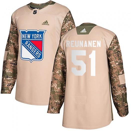 Tarmo Reunanen New York Rangers Youth Adidas Authentic Camo Veterans Day Practice Jersey