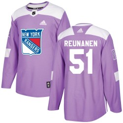 Tarmo Reunanen New York Rangers Youth Adidas Authentic Purple Fights Cancer Practice Jersey