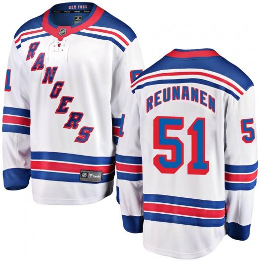 Tarmo Reunanen New York Rangers Youth Fanatics Branded White Breakaway Away Jersey