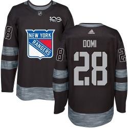 Tie Domi New York Rangers Men's Adidas Authentic Black 1917-2017 100th Anniversary Jersey