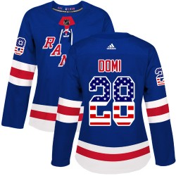 Tie Domi New York Rangers Women's Adidas Authentic Royal Blue USA Flag Fashion Jersey