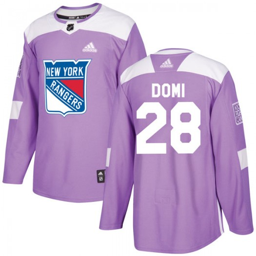 Tie Domi New York Rangers Youth Adidas Authentic Purple Fights Cancer Practice Jersey