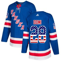 Tie Domi New York Rangers Youth Adidas Authentic Royal Blue USA Flag Fashion Jersey